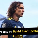 Mikel Arteta reacts to David Luiz's performance against Manchester City