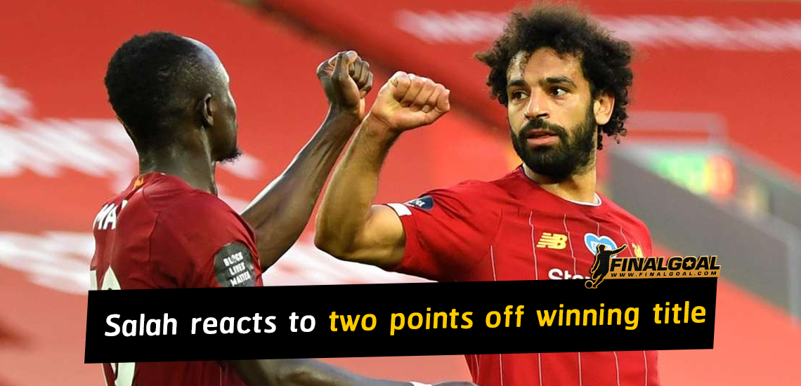 Mohamed Salah reacts to Liverpool being just two points off winning title