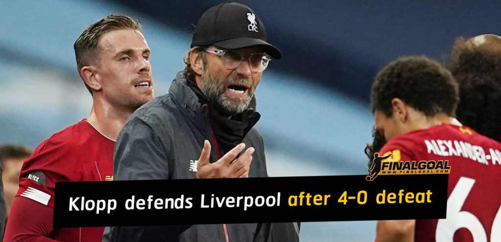 Jurgen Klopp defends attitude of Liverpool players after 4-0 defeat