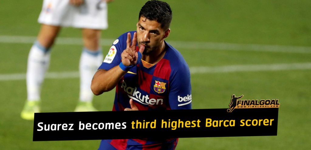 Luis Suarez becomes third highest Barcelona goalscorer of all time