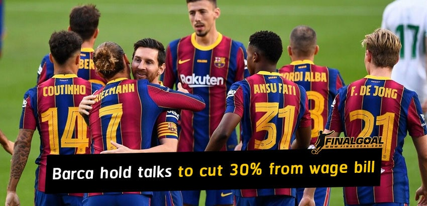 Barcelona hold urgent talks to cut 30 percent from wage bill entire club