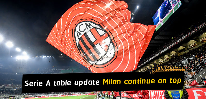 Italian Serie A table update as AC Milan continue on top