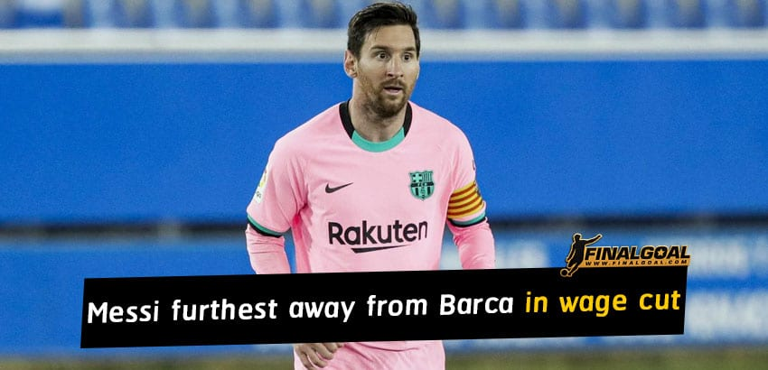 Lionel Messi furthest away from Barcelona in salary reduction negotiations