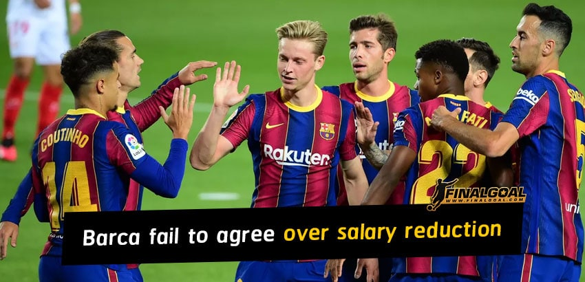 Barcelona fail to reach agreement with players over salary reduction